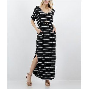 NWT Black/Ivory Stripe VNeck SS Pocket Dress, XL